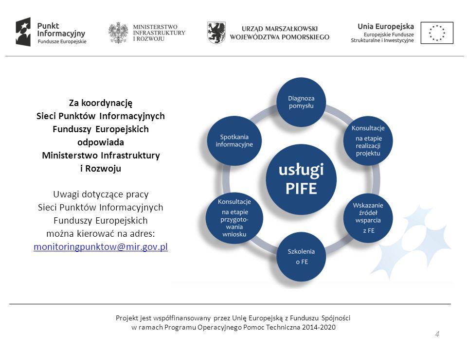 Projekt jest współfinansowany przez Unię Europejską z Funduszu Spójności w ramach Programu Operacyjnego Pomoc Techniczna 2014-2020 4 Za koordynację Sieci Punktów Informacyjnych Funduszy Europejskich odpowiada Ministerstwo Infrastruktury i Rozwoju Uwagi dotyczące pracy Sieci Punktów Informacyjnych Funduszy Europejskich można kierować na adres: monitoringpunktow@mir.gov.pl monitoringpunktow@mir.gov.pl