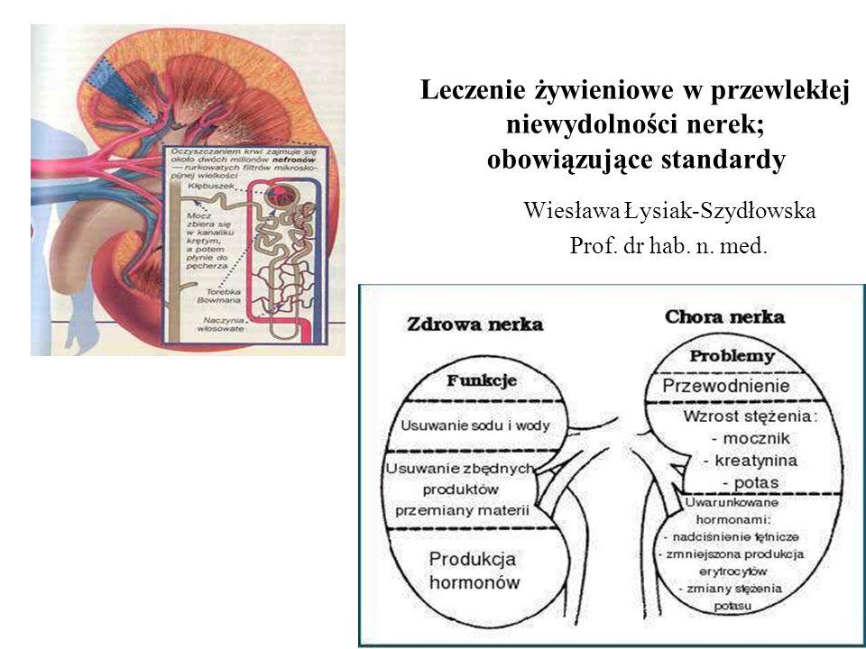 Klasyfikacja przewlekłej niewydolności nerek (DOQI-NKF) EtapOpis GFR ml/min Działanie 1 Uszkodzenie nerek z normalnym lub  GFR > 90 Diagnostyk a i terapia 2 Nieznaczny  GFR 60-89 Ocena progresji 3 Umiarkowany  GFR 30-59 Ocena i terapia powikłań 4 Znaczny  GFR 15-29 Przygotowanie do terapii nerkozastępczej 5Niewydolność nerek <15 Przeszczep lub dializa