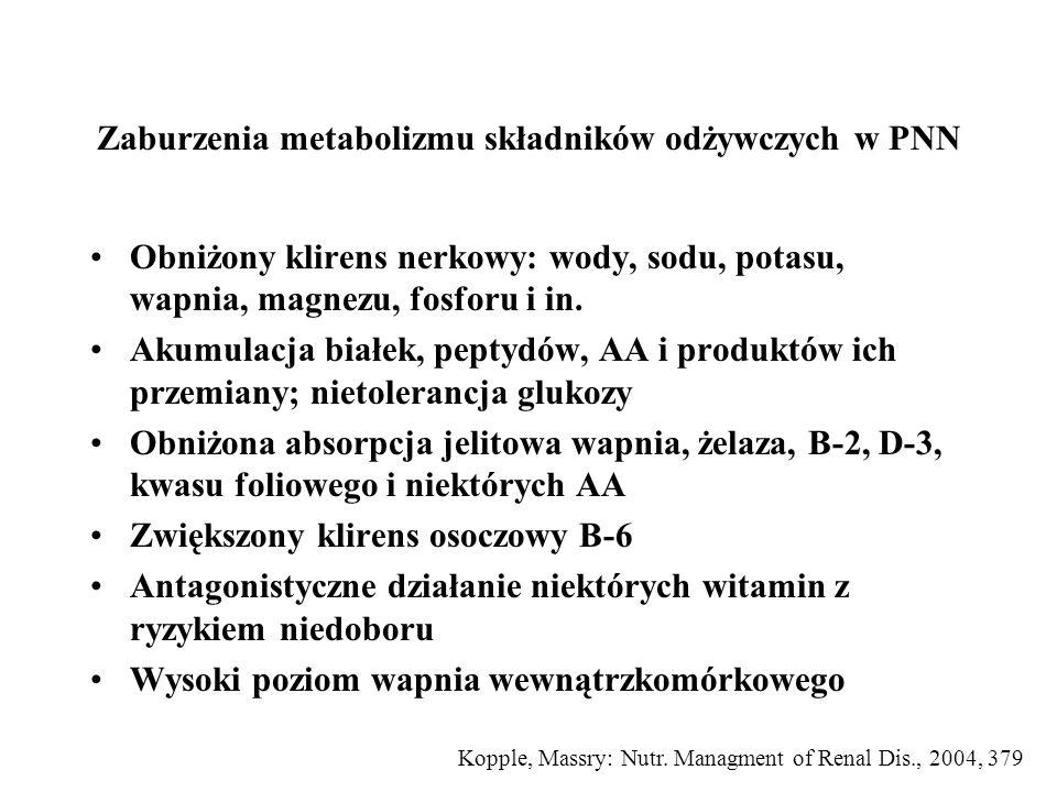"""Wpływ przewlekłego niedożywienia białkowo-kalorycznego na funkcje nerki Obniżony nerkowy przepływ osocza i szybkość filtracji kłębuszkowej Zaburzona zdolność do zagęszczania przy normalnym potencjale rozcieńczania Zaburzona zdolność wydzielania ładunku soli Zaburzona zdolność do wydzielania kwasu –Prawidłowa zdolność do obniżania pH –Znacząco obniżona kwasota miareczkowa w wyniku zmniejszonego wydalania fosforanów Mitch WE, Klahr S: """"Nutrition and Kidney Diseses, 1988"""