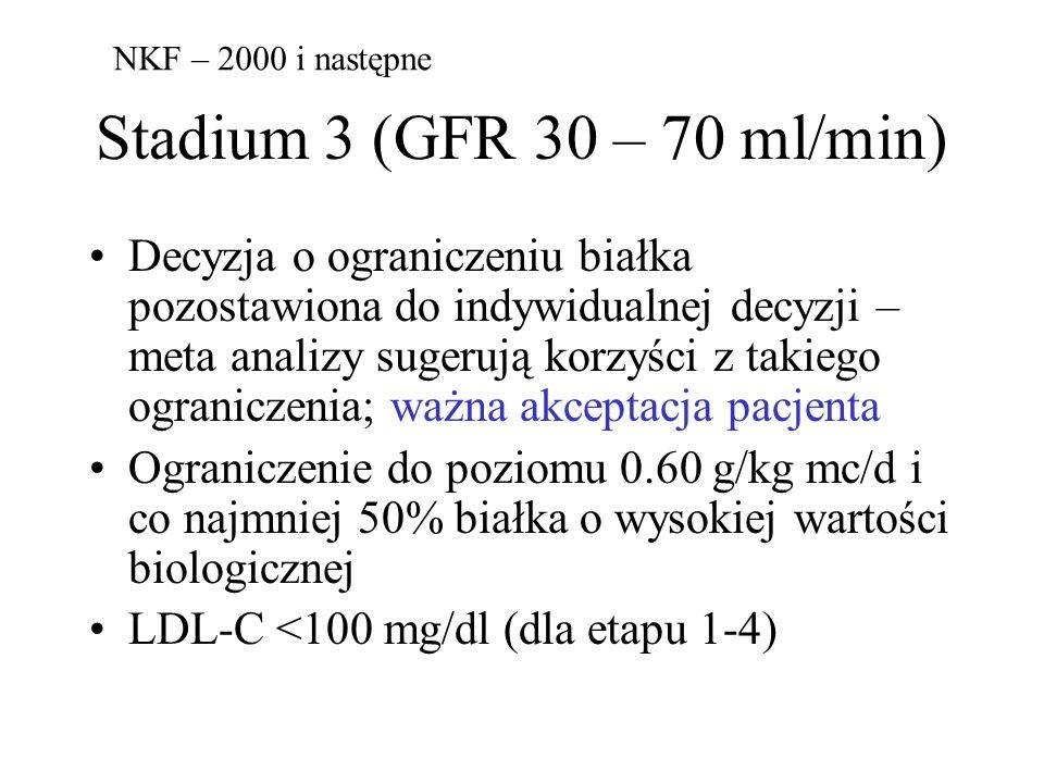 Stadium 3 (GFR 30 – 70 ml/min) Decyzja o ograniczeniu białka pozostawiona do indywidualnej decyzji – meta analizy sugerują korzyści z takiego ograniczenia; ważna akceptacja pacjenta Ograniczenie do poziomu 0.60 g/kg mc/d i co najmniej 50% białka o wysokiej wartości biologicznej LDL-C <100 mg/dl (dla etapu 1-4) NKF – 2000 i następne