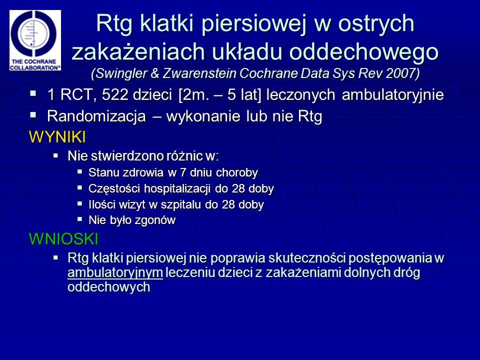 Rtg klatki piersiowej w ostrych zakażeniach układu oddechowego (Swingler & Zwarenstein Cochrane Data Sys Rev 2007)  1 RCT, 522 dzieci [2m.