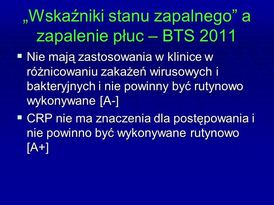 """""""Wskaźniki stanu zapalnego a zapalenie płuc – BTS 2011  Nie mają zastosowania w klinice w różnicowaniu zakażeń wirusowych i bakteryjnych i nie powinny być rutynowo wykonywane [A-]  CRP nie ma znaczenia dla postępowania i nie powinno być wykonywane rutynowo [A+]"""