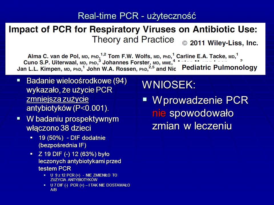 Real-time PCR - użyteczność  Badanie wieloośrodkowe (94) wykazało, że użycie PCR zmniejsza zużycie antybiotyków (P<0.001).