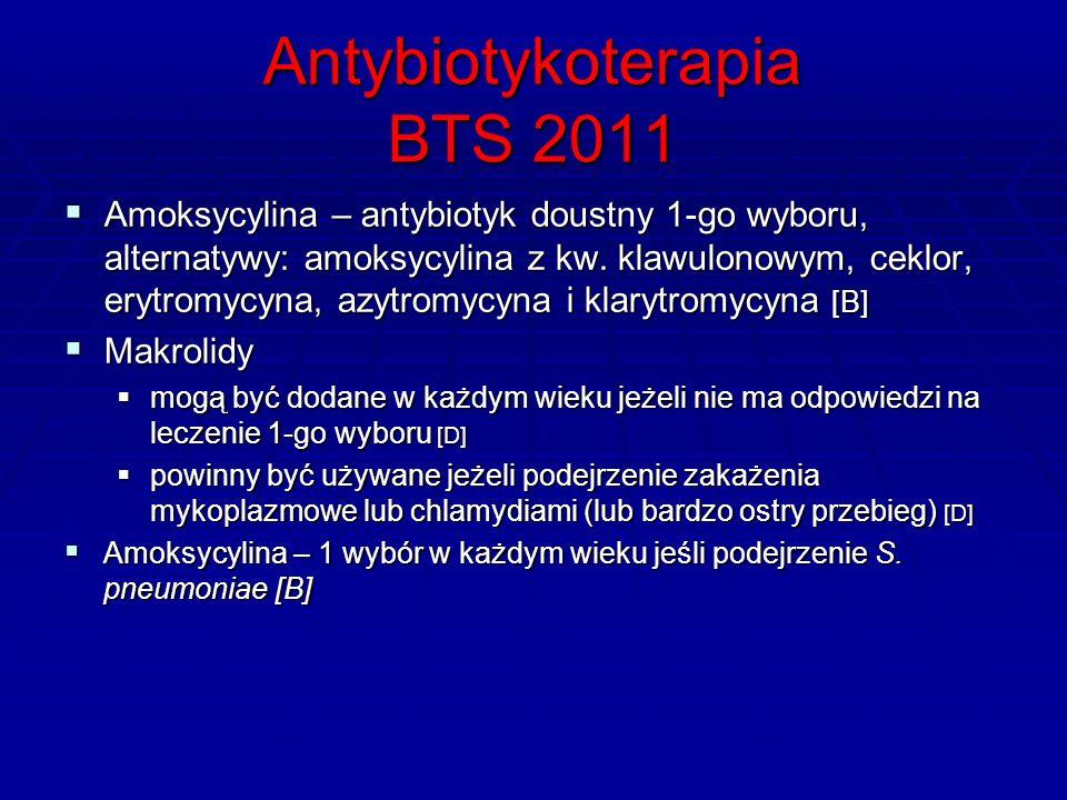 Antybiotykoterapia BTS 2011  Amoksycylina – antybiotyk doustny 1-go wyboru, alternatywy: amoksycylina z kw.