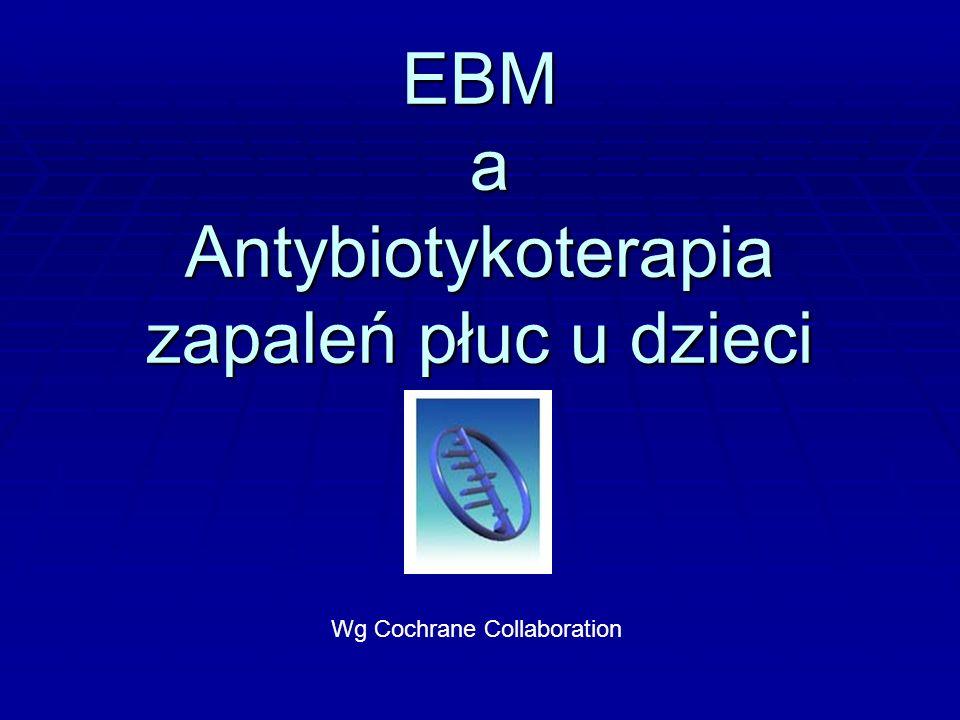 EBM a Antybiotykoterapia zapaleń płuc u dzieci Wg Cochrane Collaboration