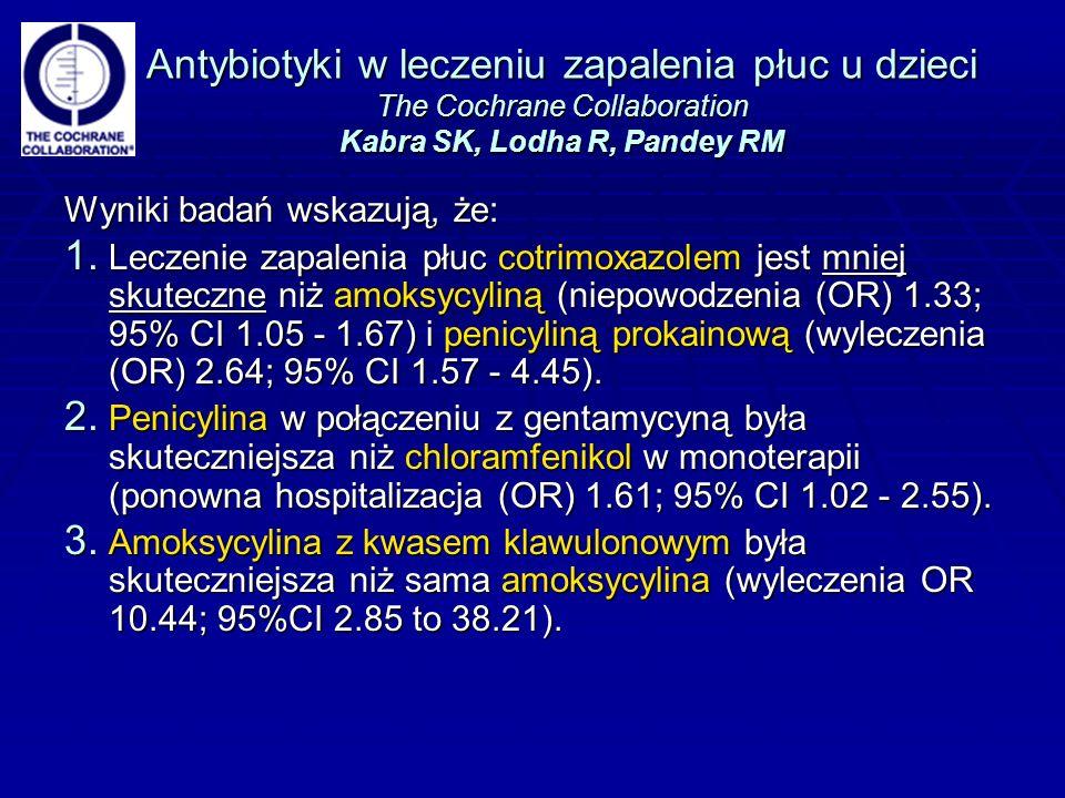 Antybiotyki w leczeniu zapalenia płuc u dzieci The Cochrane Collaboration Kabra SK, Lodha R, Pandey RM Wyniki badań wskazują, że: 1.
