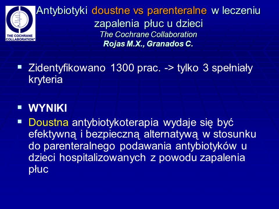 Antybiotyki doustne vs parenteralne w leczeniu zapalenia płuc u dzieci The Cochrane Collaboration Rojas M.X., Granados C.