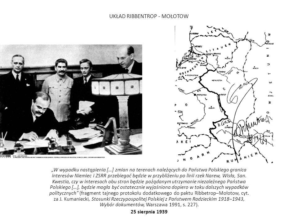 """UKŁAD RIBBENTROP - MOŁOTOW """"W wypadku nastąpienia […] zmian na terenach należących do Państwa Polskiego granica interesów Niemiec i ZSRR przebiegać będzie w przybliżeniu po linii rzek Narew, Wisła, San."""