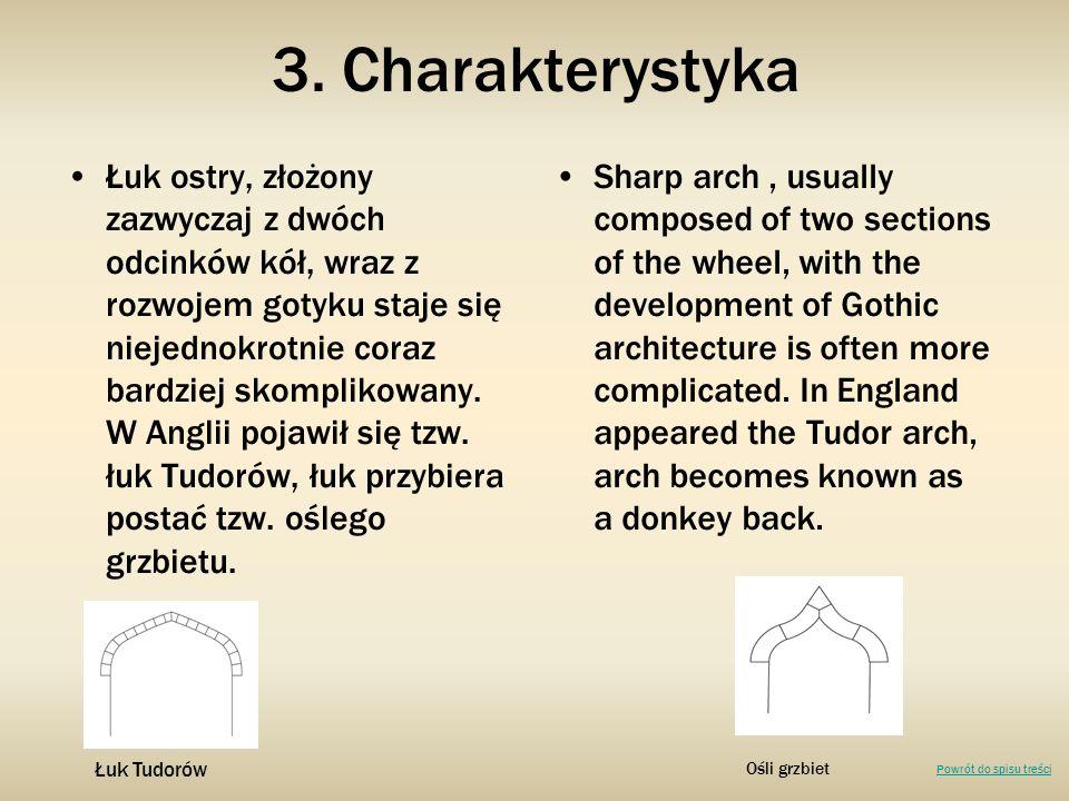 Łuk ostry, złożony zazwyczaj z dwóch odcinków kół, wraz z rozwojem gotyku staje się niejednokrotnie coraz bardziej skomplikowany. W Anglii pojawił się