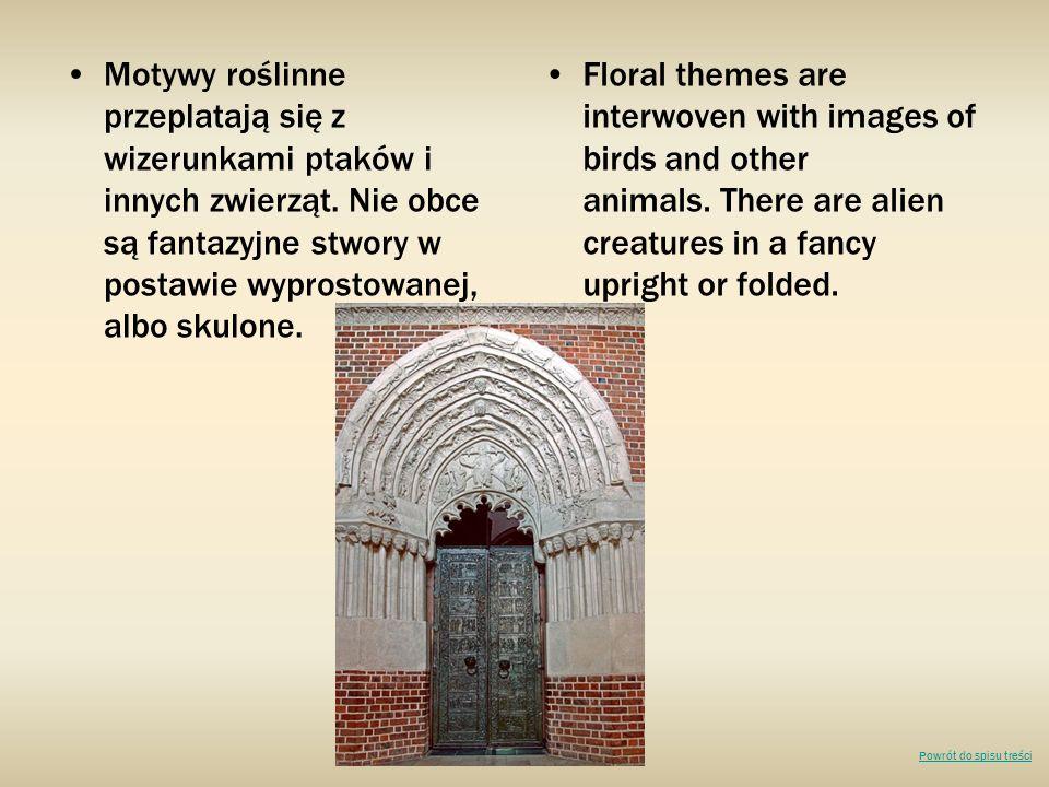 Motywy roślinne przeplatają się z wizerunkami ptaków i innych zwierząt. Nie obce są fantazyjne stwory w postawie wyprostowanej, albo skulone. Floral t