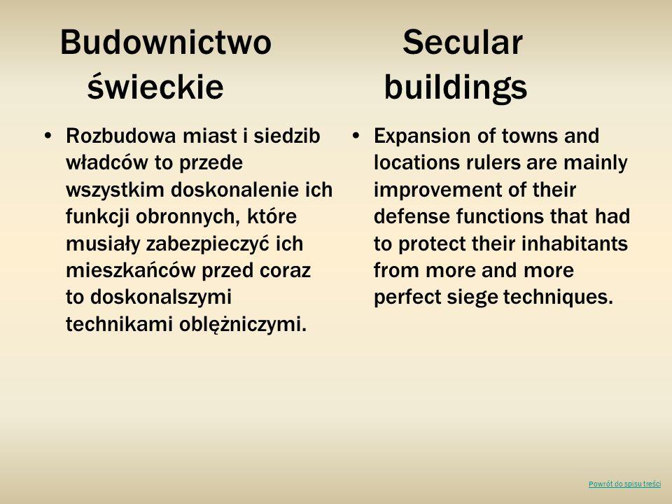 Budownictwo Secular świeckie buildings Rozbudowa miast i siedzib władców to przede wszystkim doskonalenie ich funkcji obronnych, które musiały zabezpieczyć ich mieszkańców przed coraz to doskonalszymi technikami oblężniczymi.