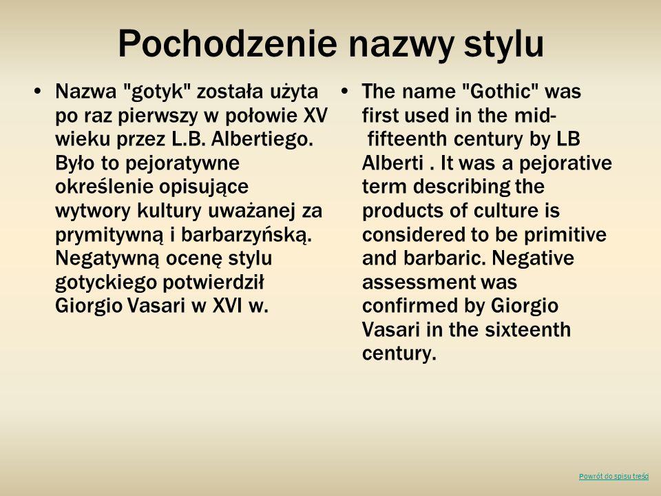 Pochodzenie nazwy stylu Nazwa gotyk została użyta po raz pierwszy w połowie XV wieku przez L.B.