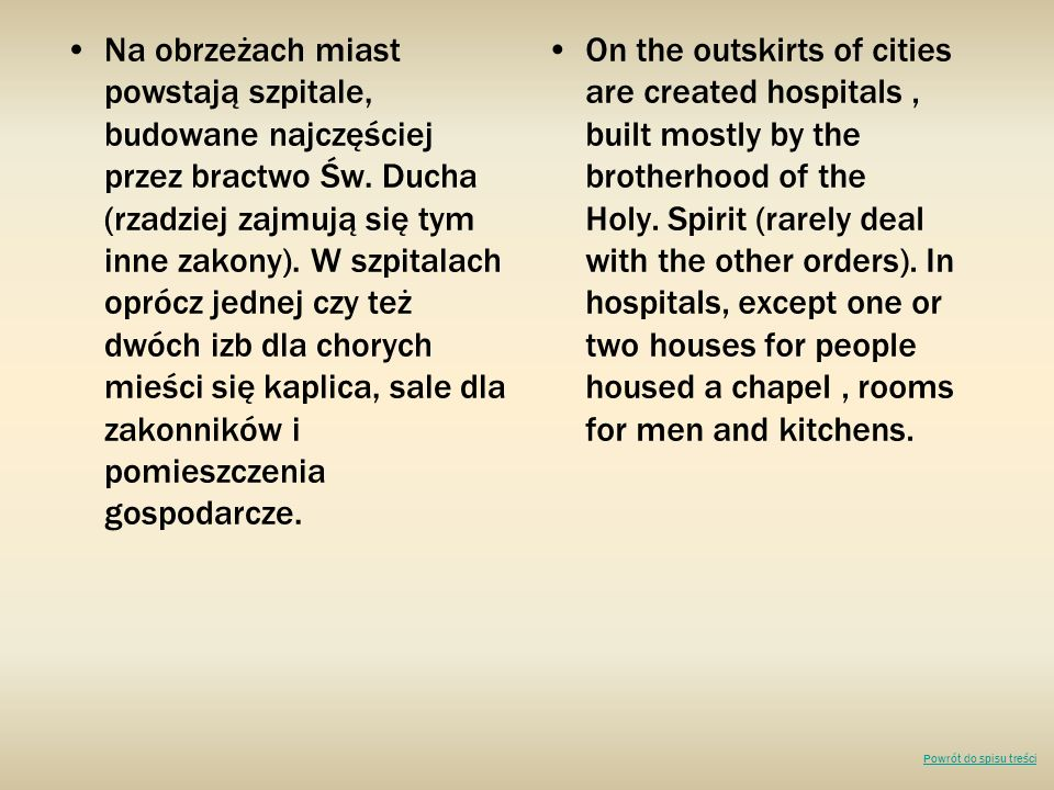 Na obrzeżach miast powstają szpitale, budowane najczęściej przez bractwo Św. Ducha (rzadziej zajmują się tym inne zakony). W szpitalach oprócz jednej