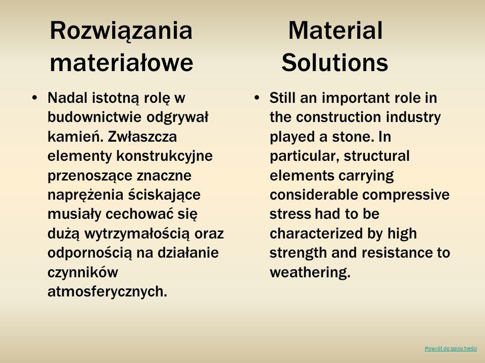 Rozwiązania Material materiałowe Solutions Nadal istotną rolę w budownictwie odgrywał kamień. Zwłaszcza elementy konstrukcyjne przenoszące znaczne nap