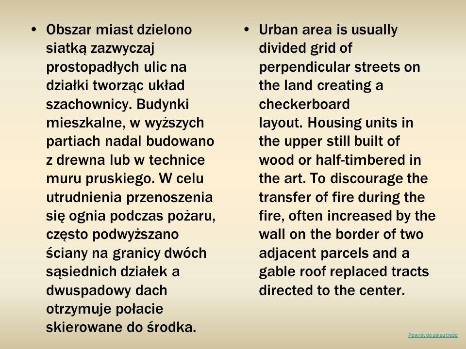 Obszar miast dzielono siatką zazwyczaj prostopadłych ulic na działki tworząc układ szachownicy. Budynki mieszkalne, w wyższych partiach nadal budowano