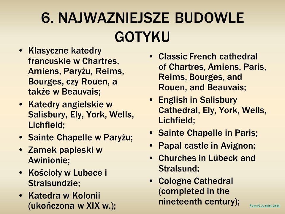 6. NAJWAZNIEJSZE BUDOWLE GOTYKU Klasyczne katedry francuskie w Chartres, Amiens, Paryżu, Reims, Bourges, czy Rouen, a także w Beauvais; Katedry angiel