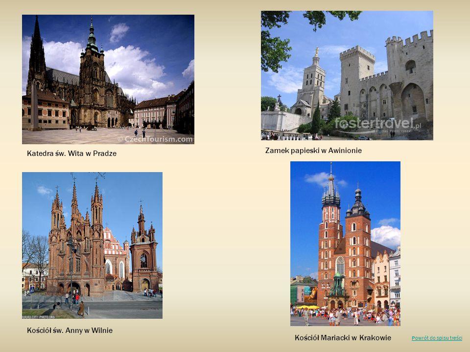 Katedra św. Wita w Pradze Zamek papieski w Awinionie Kościół św. Anny w Wilnie Kościół Mariacki w Krakowie Powrót do spisu treści