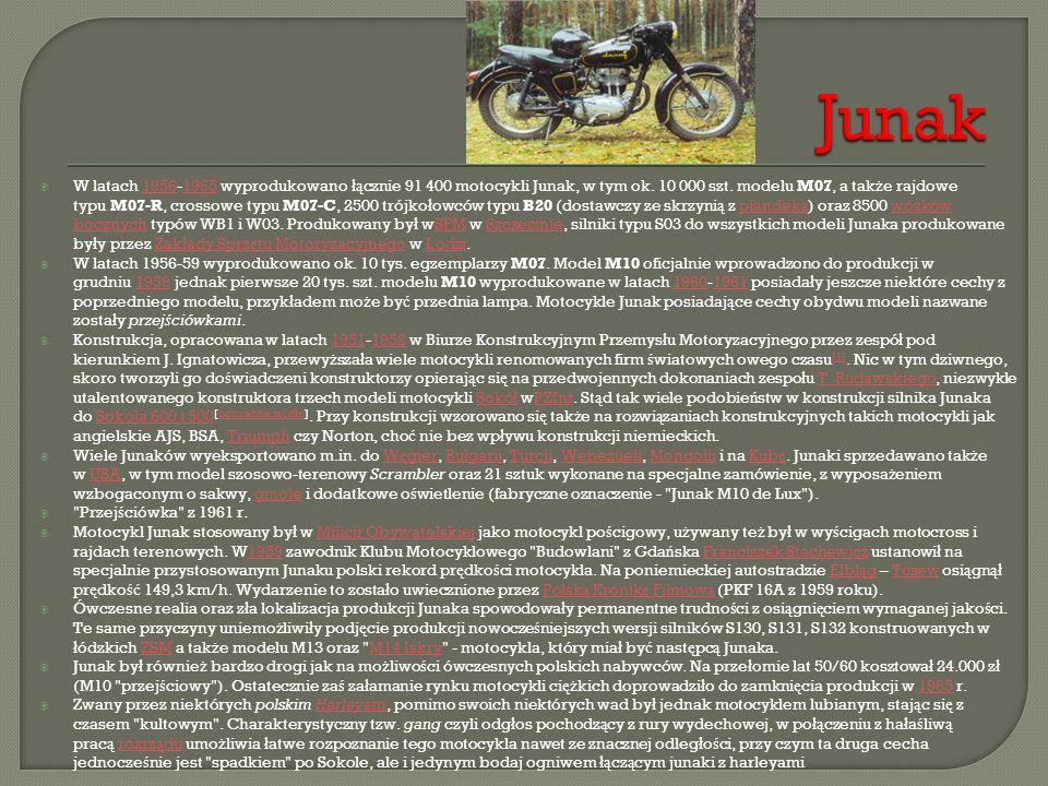  W latach 1956-1965 wyprodukowano łą cznie 91 400 motocykli Junak, w tym ok. 10 000 szt. modelu M07, a tak ż e rajdowe typu M07-R, crossowe typu M07-
