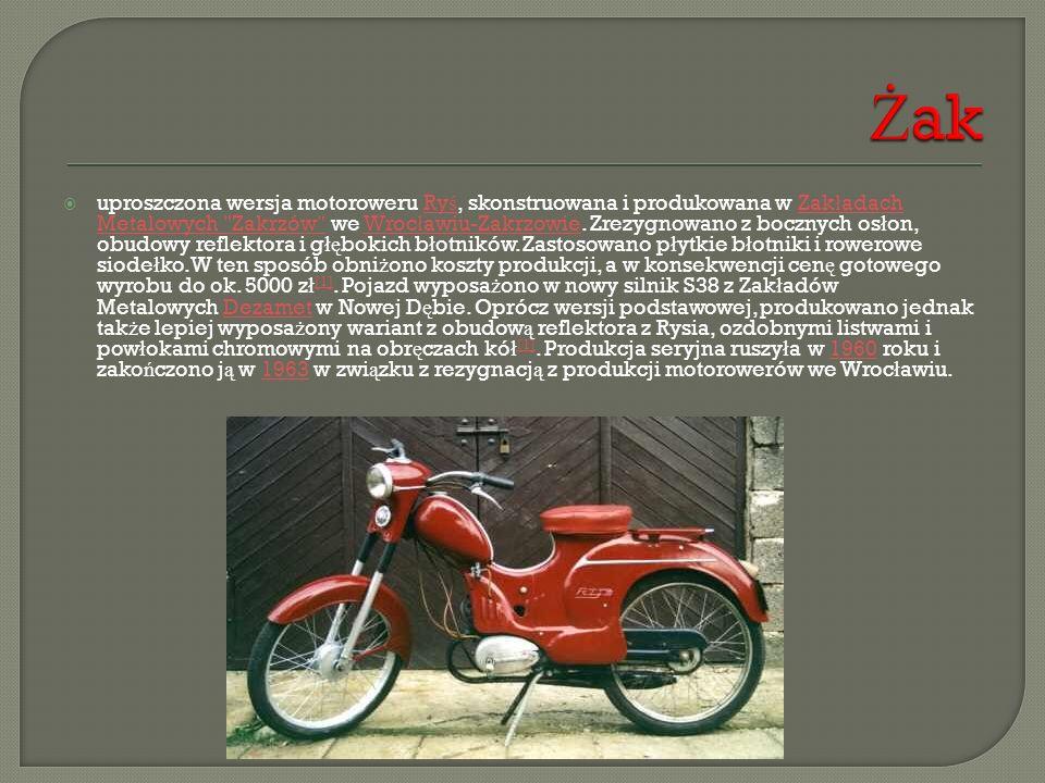  uproszczona wersja motoroweru Ry ś, skonstruowana i produkowana w Zak ł adach Metalowych