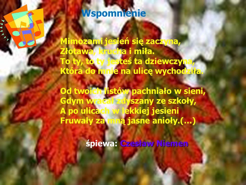 Wspomnienie Mimozami jesień się zaczyna, Złotawa, krucha i miła.