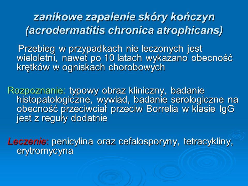 zanikowe zapalenie skóry kończyn (acrodermatitis chronica atrophicans) Przebieg w przypadkach nie leczonych jest wieloletni, nawet po 10 latach wykazano obecność krętków w ogniskach chorobowych Przebieg w przypadkach nie leczonych jest wieloletni, nawet po 10 latach wykazano obecność krętków w ogniskach chorobowych Rozpoznanie: typowy obraz kliniczny, badanie histopatologiczne, wywiad, badanie serologiczne na obecność przeciwciał przeciw Borrelia w klasie IgG jest z reguły dodatnie Leczenie: penicylina oraz cefalosporyny, tetracykliny, erytromycyna