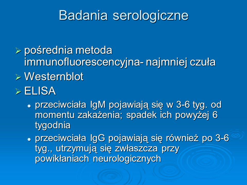 Badania serologiczne  pośrednia metoda immunofluorescencyjna- najmniej czuła  Westernblot  ELISA przeciwciała IgM pojawiają się w 3-6 tyg. od momen