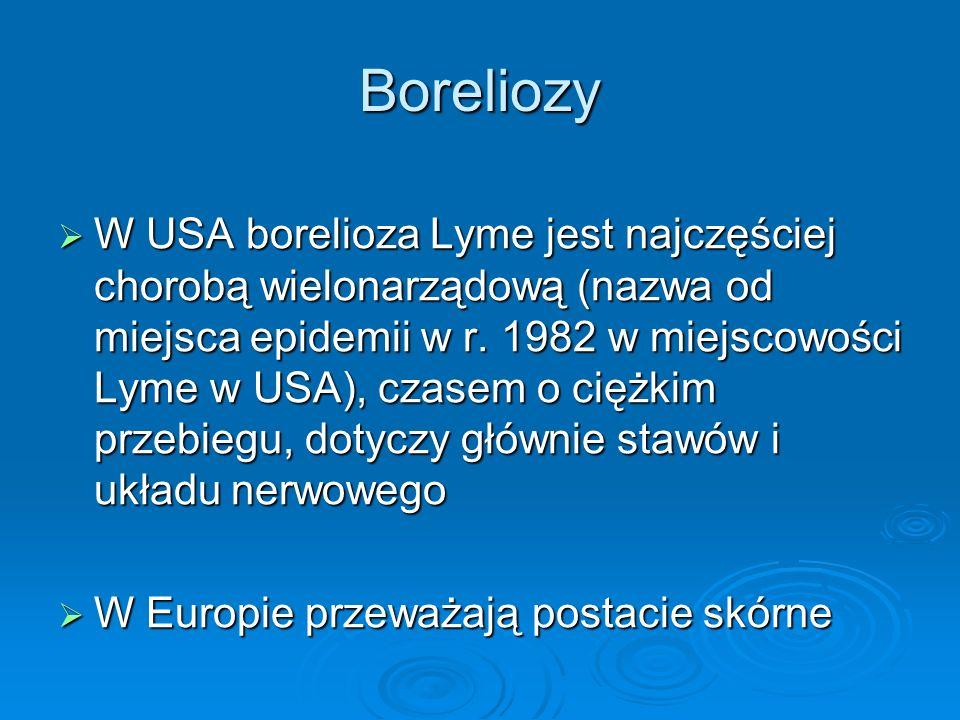 Boreliozy  W USA borelioza Lyme jest najczęściej chorobą wielonarządową (nazwa od miejsca epidemii w r. 1982 w miejscowości Lyme w USA), czasem o cię