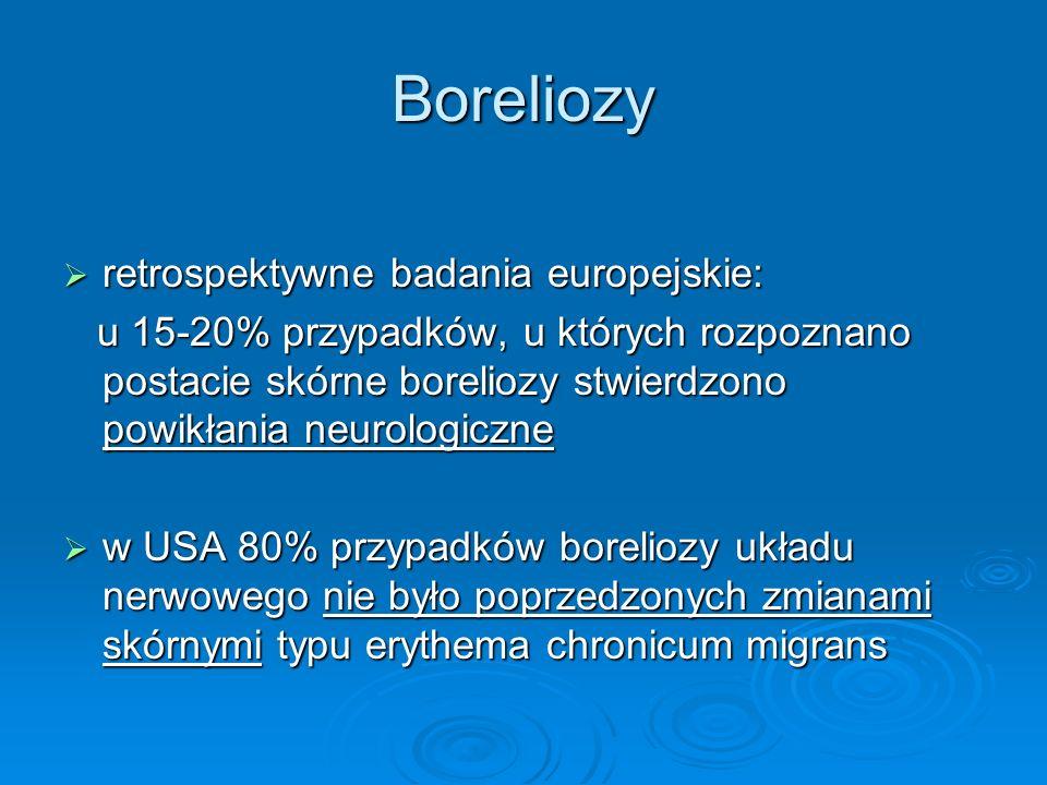 Boreliozy  retrospektywne badania europejskie: u 15-20% przypadków, u których rozpoznano postacie skórne boreliozy stwierdzono powikłania neurologicz