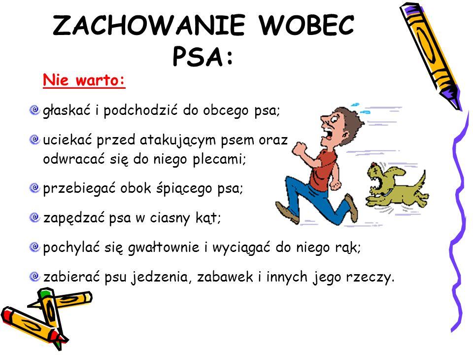 ZACHOWANIE WOBEC PSA: Nie warto: głaskać i podchodzić do obcego psa; uciekać przed atakującym psem oraz odwracać się do niego plecami; przebiegać obok