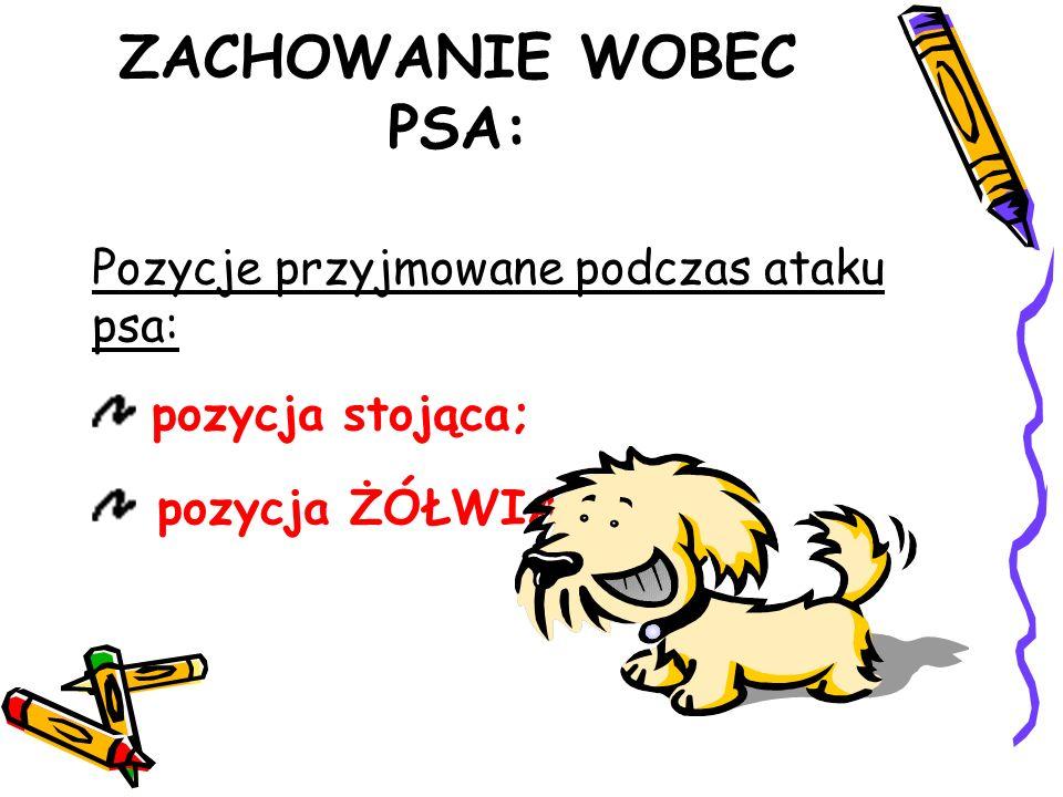 Pozycje przyjmowane podczas ataku psa: pozycja stojąca; pozycja ŻÓŁWIA. ZACHOWANIE WOBEC PSA: