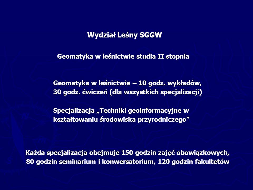 Wydział Leśny SGGW Geomatyka w leśnictwie studia II stopnia Geomatyka w leśnictwie – 10 godz.