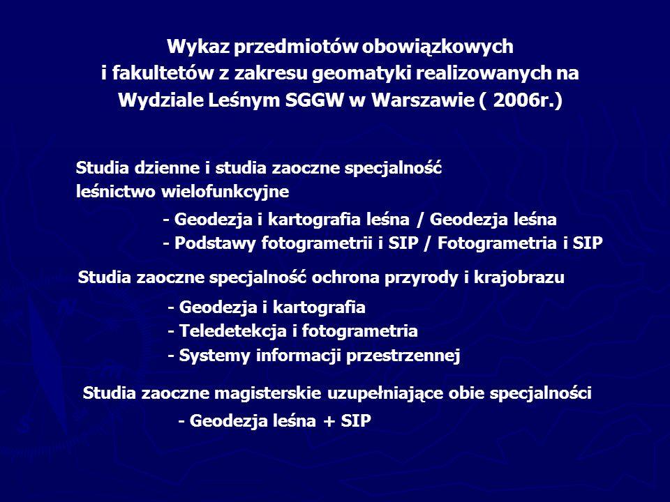 - Metody numeryczne w fotogrametrii i teledetekcji - Metody analizy danych rastrowych w SIP - Budowa SIP dla nadleśnictwa - Wykorzystanie SIP w nadleśnictwie - Budowa SIP na poziomie regionalnym i krajowym - Wykorzystanie SIP na poziomie regionalnym i krajowym - Wykorzystanie sieci neuronowych w leśnictwie - Fotogrametria w urządzaniu lasu Przedmioty fakultatywne wybrane przez studentów w roku 2005/2006: