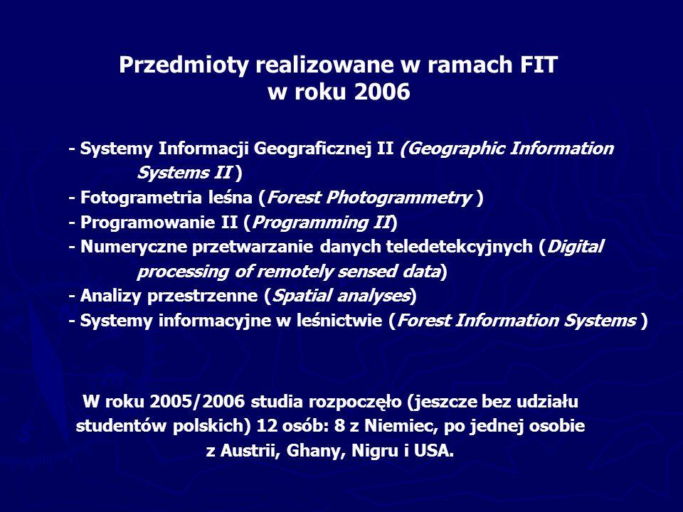 Prace magisterskie Wydział Leśny w Poznaniu – od 2001 roku - 12 prac Wydział Leśny w Krakowie – od 1999 roku - 17 prac Wydział Leśny w Warszawie – od 1992 roku - 187 prac