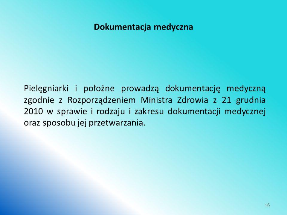 Dokumentacja medyczna Pielęgniarki i położne prowadzą dokumentację medyczną zgodnie z Rozporządzeniem Ministra Zdrowia z 21 grudnia 2010 w sprawie i rodzaju i zakresu dokumentacji medycznej oraz sposobu jej przetwarzania.