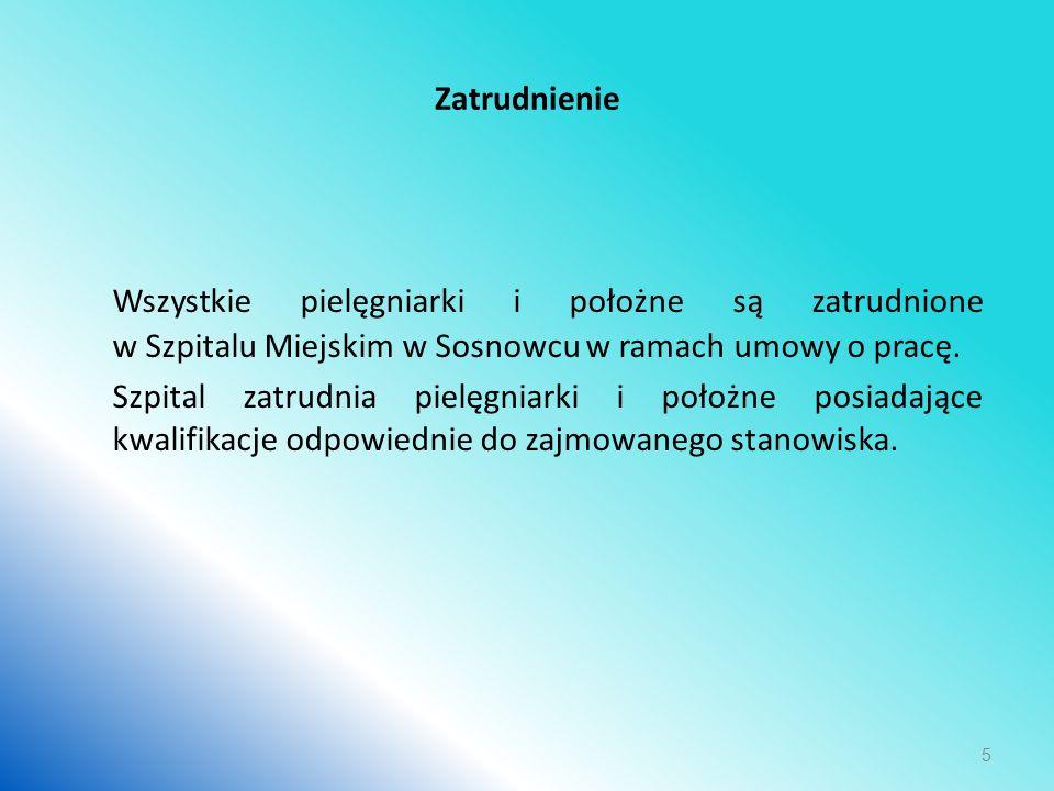 Zatrudnienie Wszystkie pielęgniarki i położne są zatrudnione w Szpitalu Miejskim w Sosnowcu w ramach umowy o pracę.