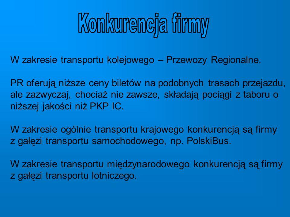 W zakresie transportu kolejowego – Przewozy Regionalne.