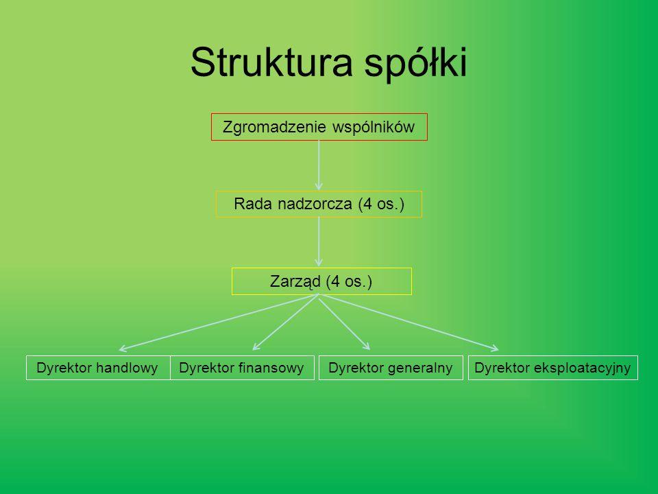 Struktura spółki Zgromadzenie wspólników Rada nadzorcza (4 os.) Zarząd (4 os.) Dyrektor handlowyDyrektor finansowyDyrektor generalnyDyrektor eksploatacyjny