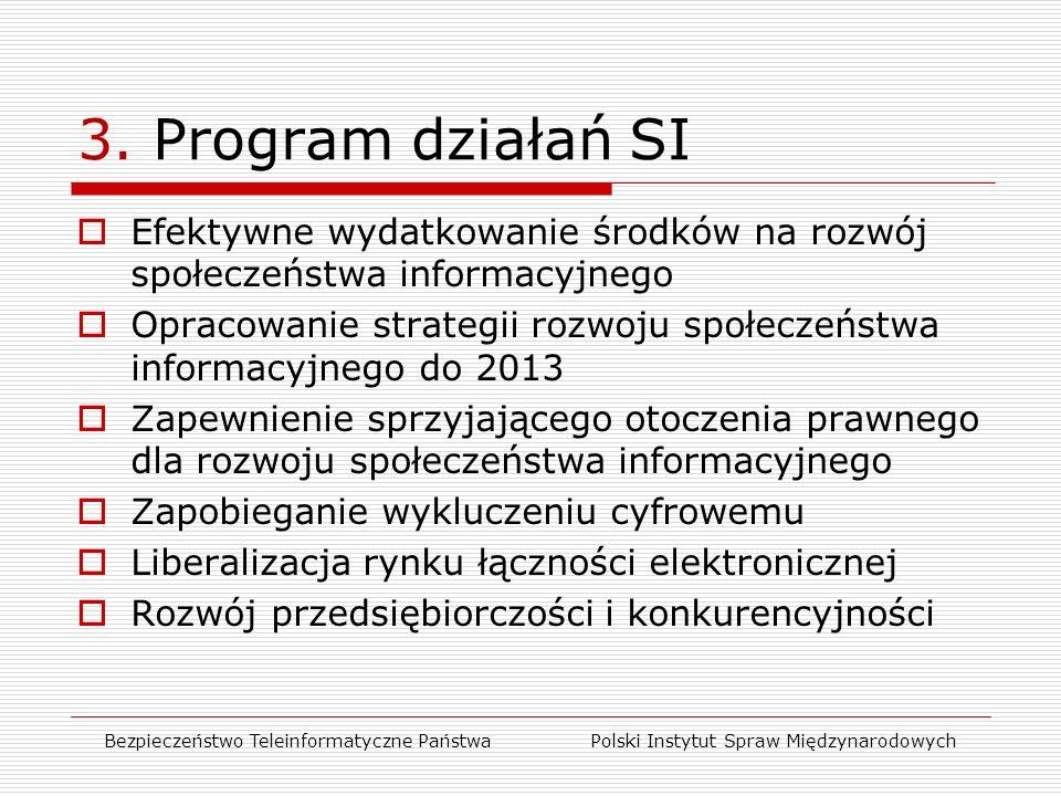 3. Program działań SI  Efektywne wydatkowanie środków na rozwój społeczeństwa informacyjnego  Opracowanie strategii rozwoju społeczeństwa informacyj