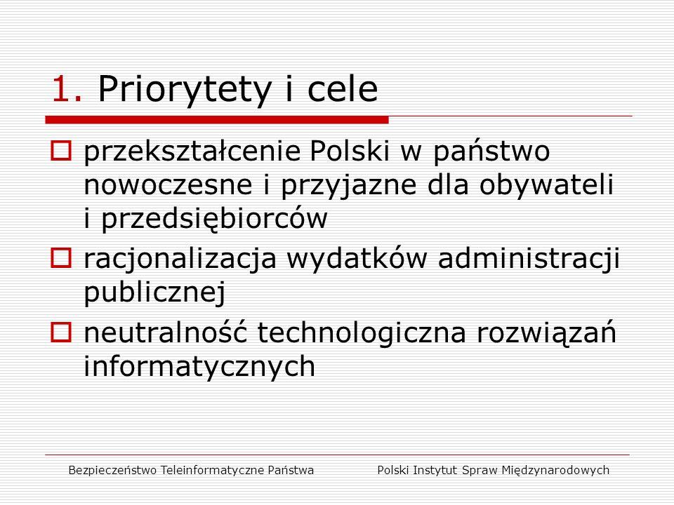  przekształcenie Polski w państwo nowoczesne i przyjazne dla obywateli i przedsiębiorców  racjonalizacja wydatków administracji publicznej  neutralność technologiczna rozwiązań informatycznych Bezpieczeństwo Teleinformatyczne Państwa Polski Instytut Spraw Międzynarodowych 1.