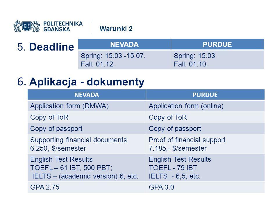Warunki 2 5. Deadline 6. Aplikacja - dokumenty NEVADAPURDUE Spring: 15.03.-15.07.