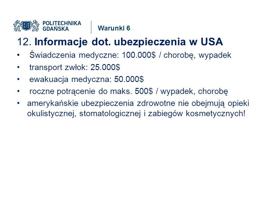 Warunki 6 12. Informacje dot.
