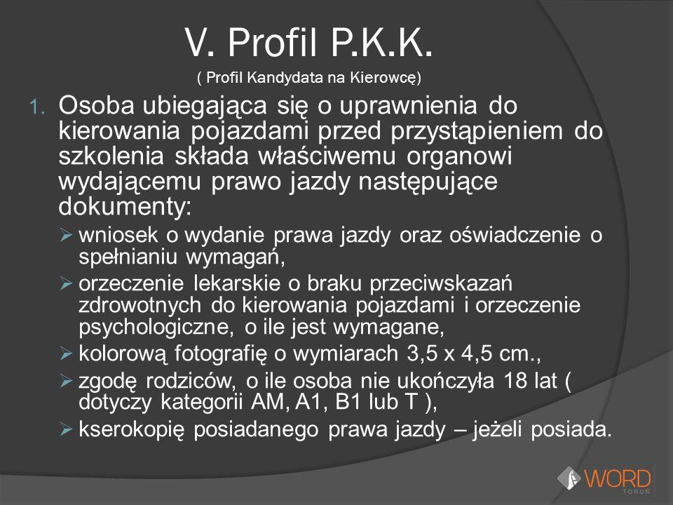 V. Profil P.K.K. ( Profil Kandydata na Kierowcę) 1. Osoba ubiegająca się o uprawnienia do kierowania pojazdami przed przystąpieniem do szkolenia skład