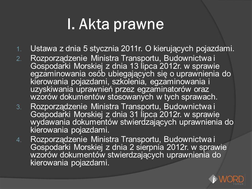 I. Akta prawne 1. Ustawa z dnia 5 stycznia 2011r.