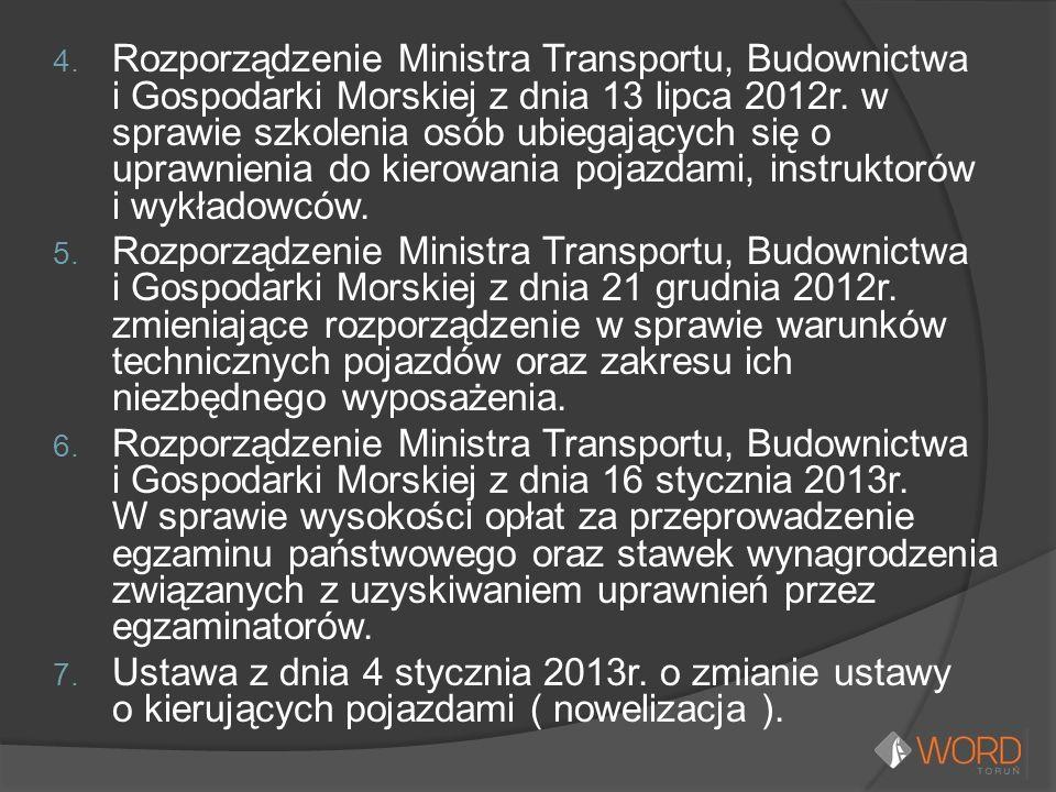 4. Rozporządzenie Ministra Transportu, Budownictwa i Gospodarki Morskiej z dnia 13 lipca 2012r. w sprawie szkolenia osób ubiegających się o uprawnieni