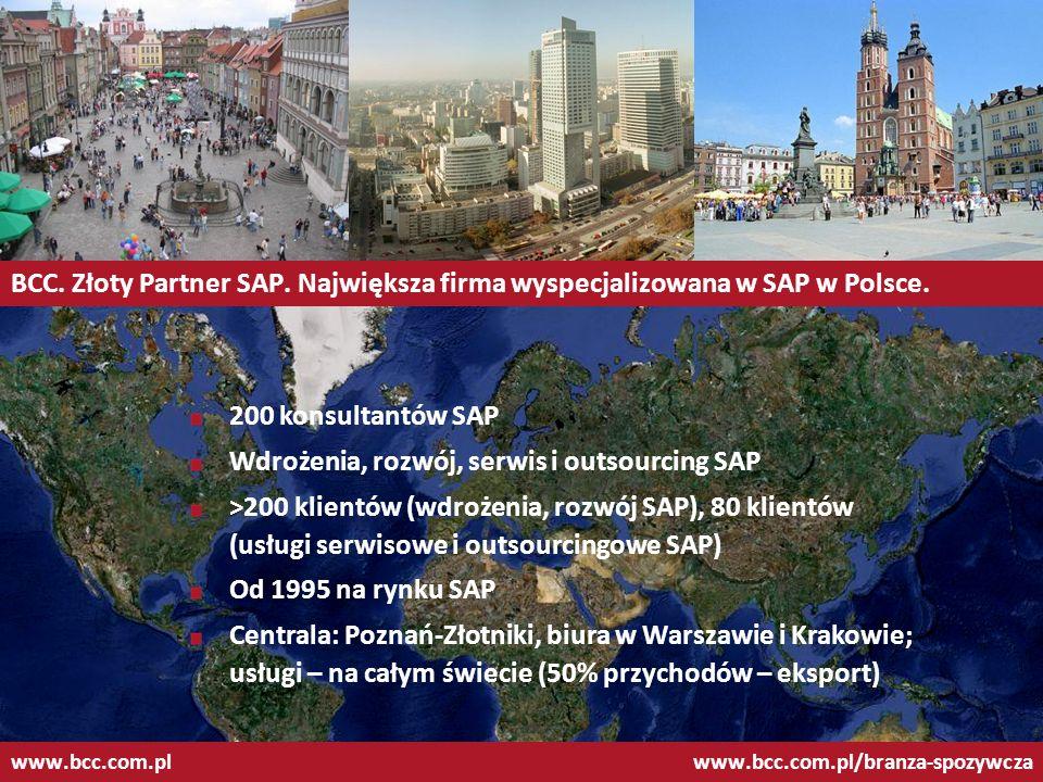 II Forum Rynku Spożywczego BCC: Partner Dedykowany SAP dla branży spożywczej www.bcc.com.plwww.bcc.com.pl/branza-spozywcza Największe doświadczenie we wdrażaniu systemów SAP w firmach spożywczych w Polsce Wyspecjalizowane funkcje SAP, wspierające specyficzne dla branży procesy, jak: zarządzanie partiami i terminami ważności, zarządzanie opakowaniami zwrotnymi, obsługa akcyzy, integracja z sieciami handlowymi, obsługa kontraktacji surowców i in.