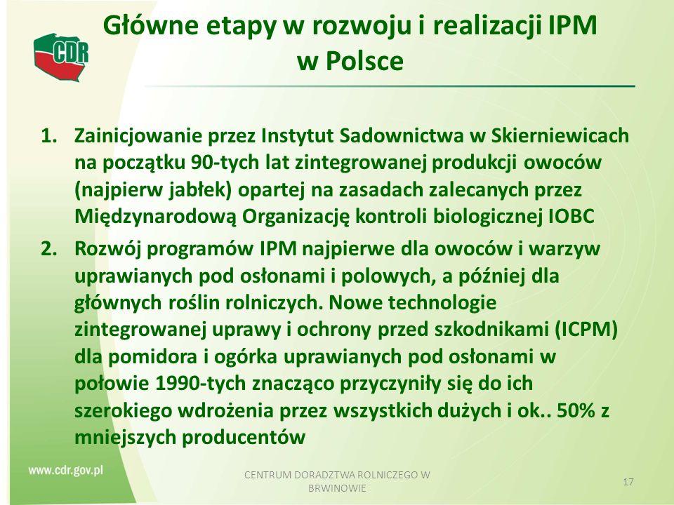 Główne etapy w rozwoju i realizacji IPM w Polsce 1.Zainicjowanie przez Instytut Sadownictwa w Skierniewicach na początku 90-tych lat zintegrowanej produkcji owoców (najpierw jabłek) opartej na zasadach zalecanych przez Międzynarodową Organizację kontroli biologicznej IOBC 2.Rozwój programów IPM najpierwe dla owoców i warzyw uprawianych pod osłonami i polowych, a później dla głównych roślin rolniczych.