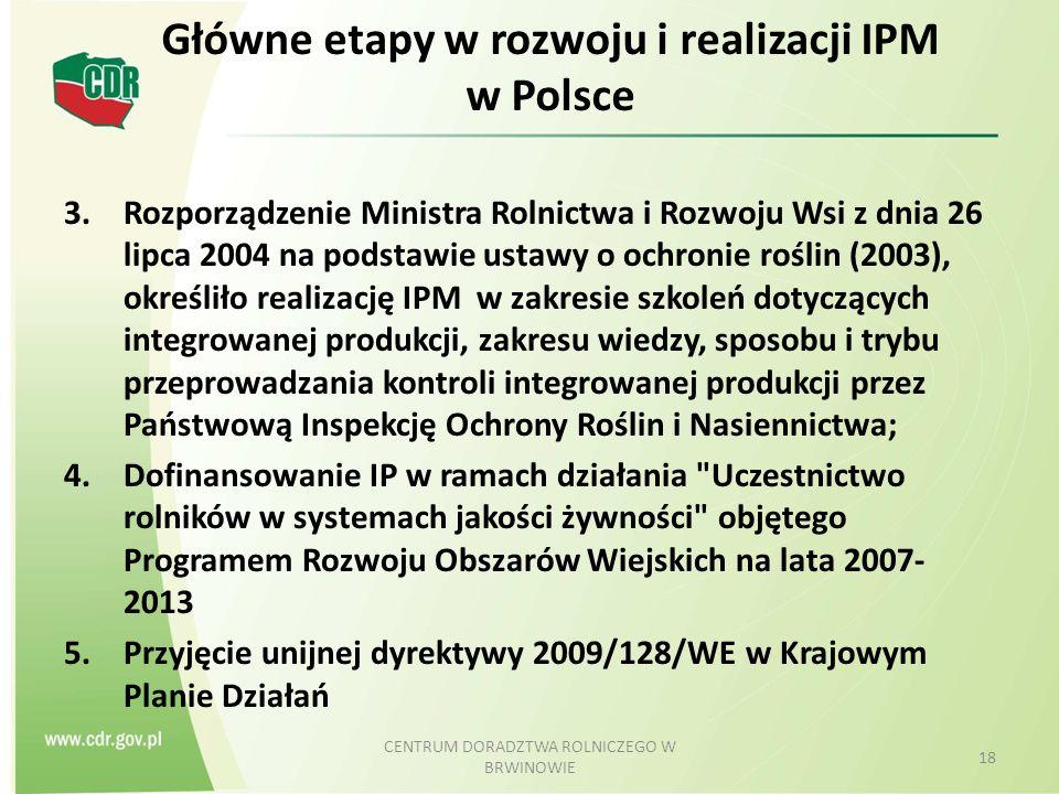 Główne etapy w rozwoju i realizacji IPM w Polsce 3.Rozporządzenie Ministra Rolnictwa i Rozwoju Wsi z dnia 26 lipca 2004 na podstawie ustawy o ochronie roślin (2003), określiło realizację IPM w zakresie szkoleń dotyczących integrowanej produkcji, zakresu wiedzy, sposobu i trybu przeprowadzania kontroli integrowanej produkcji przez Państwową Inspekcję Ochrony Roślin i Nasiennictwa; 4.Dofinansowanie IP w ramach działania Uczestnictwo rolników w systemach jakości żywności objętego Programem Rozwoju Obszarów Wiejskich na lata 2007- 2013 5.Przyjęcie unijnej dyrektywy 2009/128/WE w Krajowym Planie Działań CENTRUM DORADZTWA ROLNICZEGO W BRWINOWIE 18