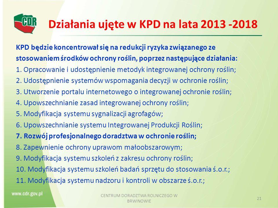 Działania ujęte w KPD na lata 2013 -2018 KPD będzie koncentrował się na redukcji ryzyka związanego ze stosowaniem środków ochrony roślin, poprzez następujące działania: 1.
