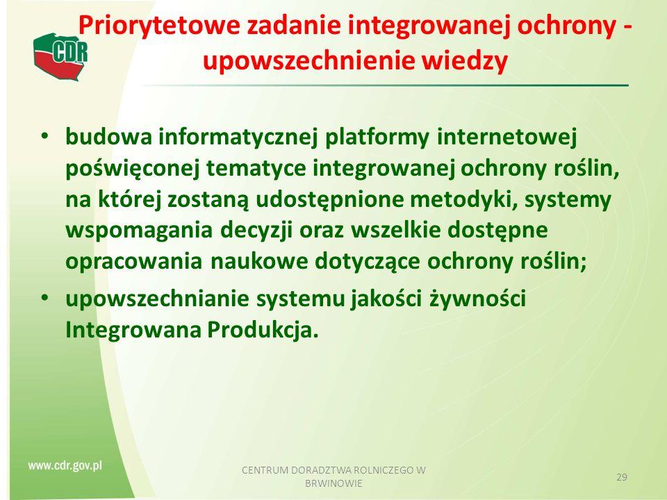 Priorytetowe zadanie integrowanej ochrony - upowszechnienie wiedzy budowa informatycznej platformy internetowej poświęconej tematyce integrowanej ochrony roślin, na której zostaną udostępnione metodyki, systemy wspomagania decyzji oraz wszelkie dostępne opracowania naukowe dotyczące ochrony roślin; upowszechnianie systemu jakości żywności Integrowana Produkcja.