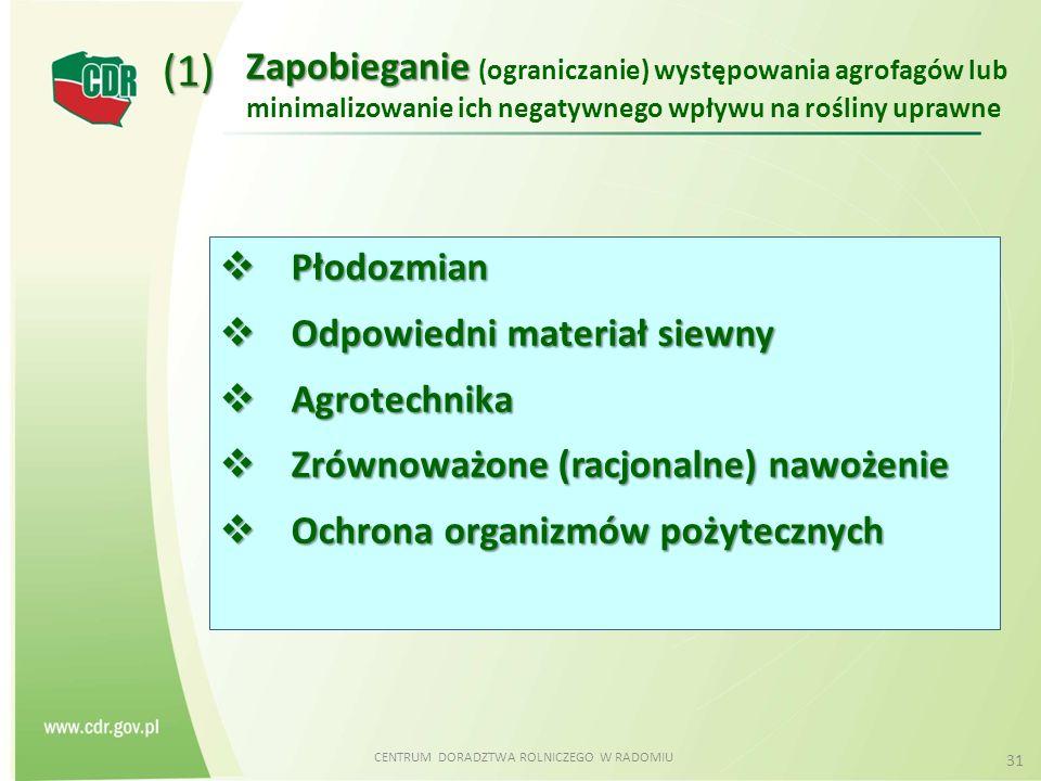CENTRUM DORADZTWA ROLNICZEGO W RADOMIU 31 Zapobieganie Zapobieganie (ograniczanie) występowania agrofagów lub minimalizowanie ich negatywnego wpływu na rośliny uprawne (1)  Płodozmian  Odpowiedni materiał siewny  Agrotechnika  Zrównoważone (racjonalne) nawożenie  Ochrona organizmów pożytecznych
